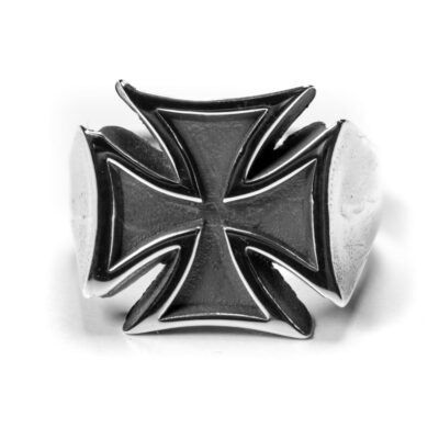 Cross Iron Ring Front silver