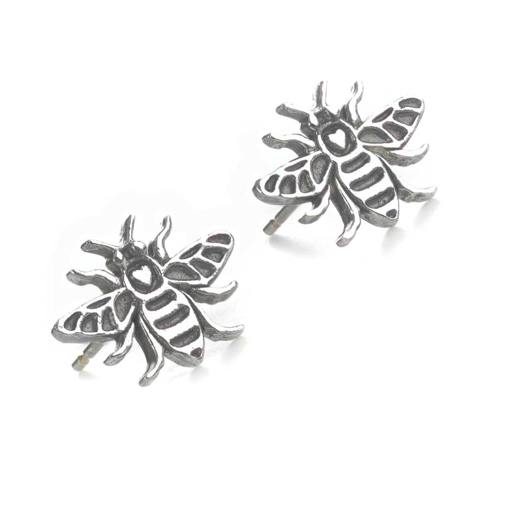 Silver Manchester Bee stud earrings