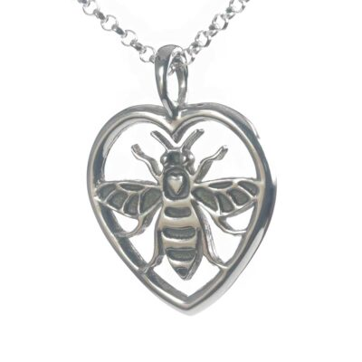 Manchester Bee heart pendant necklace
