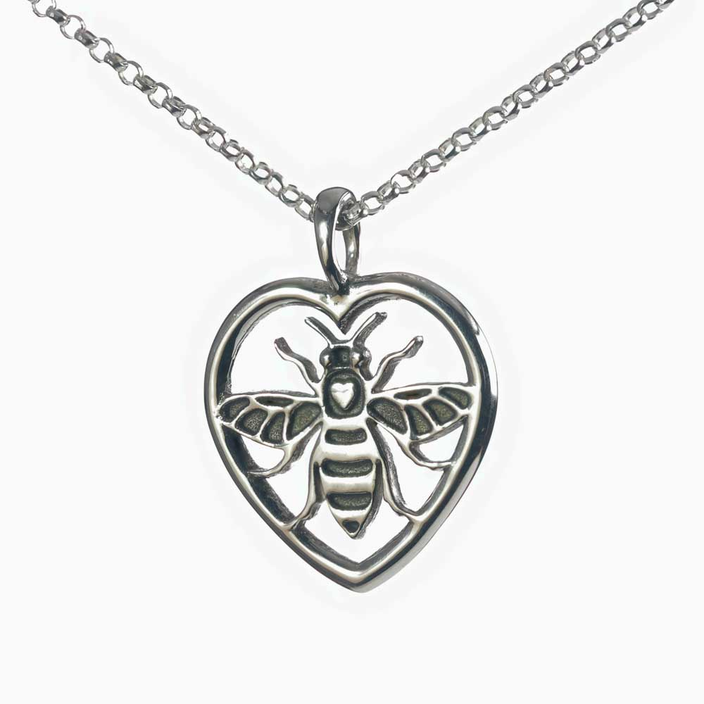 Manchester Bee silver pendant heart necklace