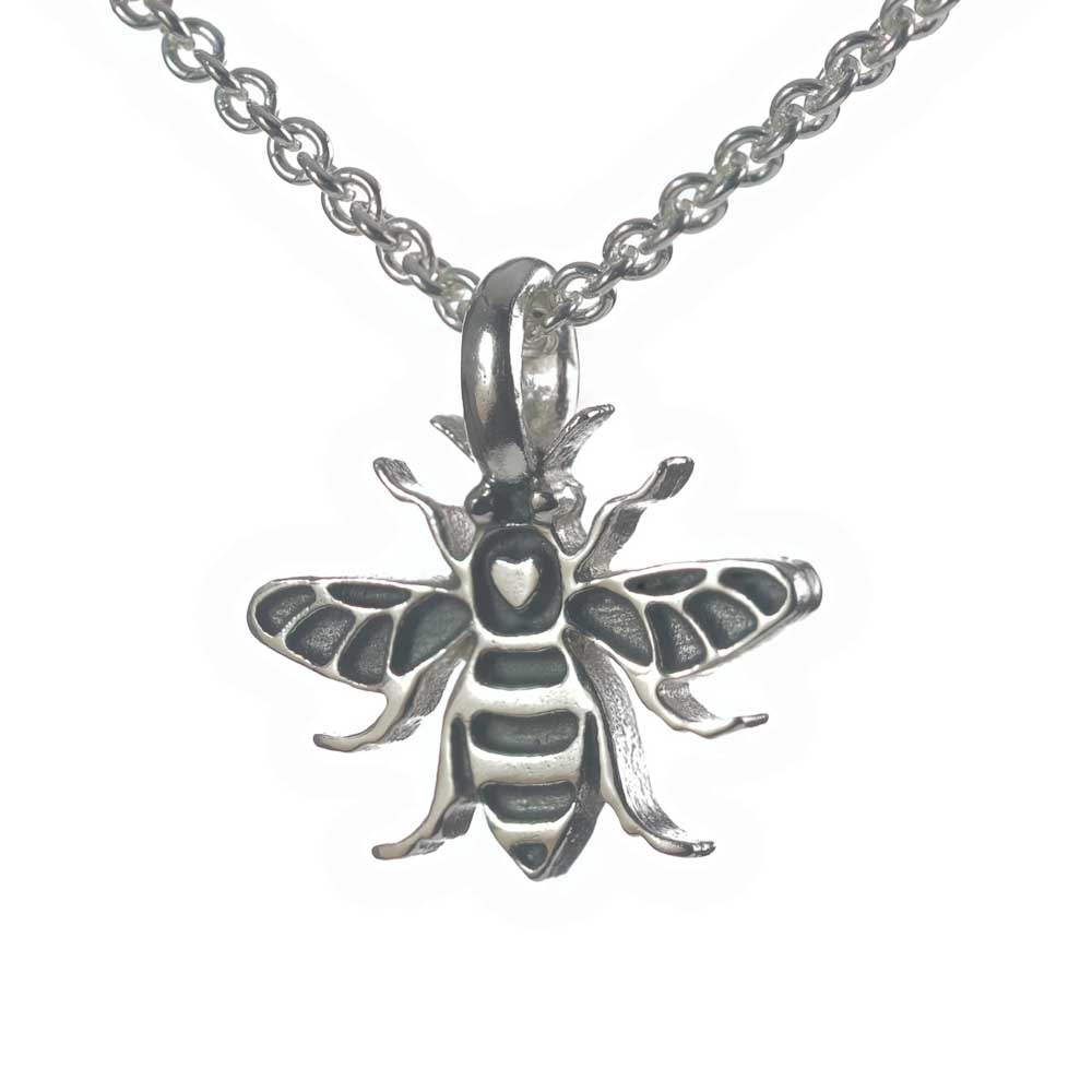 Manchester Bee silver necklace pendant