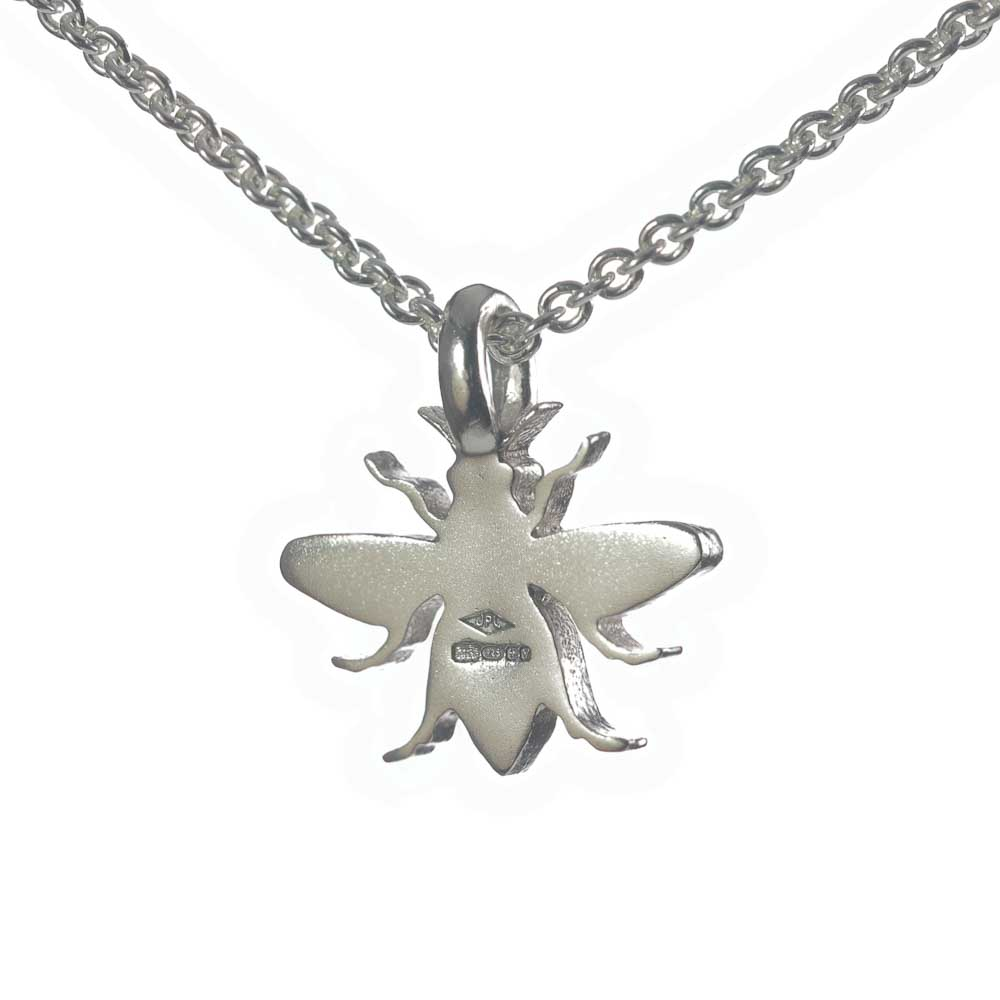 Back of silver Manchester Bee pendant necklace