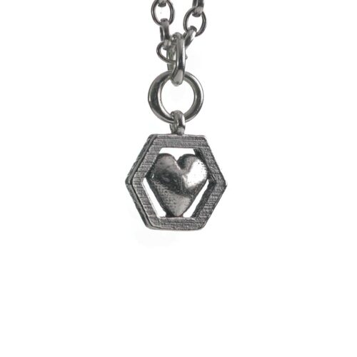 Heart Hive necklace silver