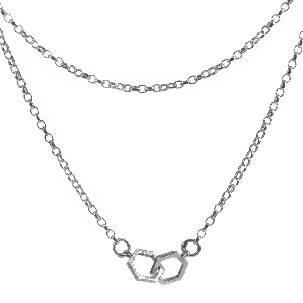 Hive Double silver necklace
