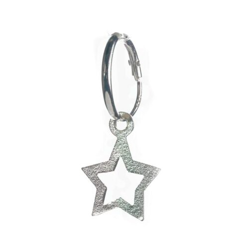 Open star drop charm hoop earring