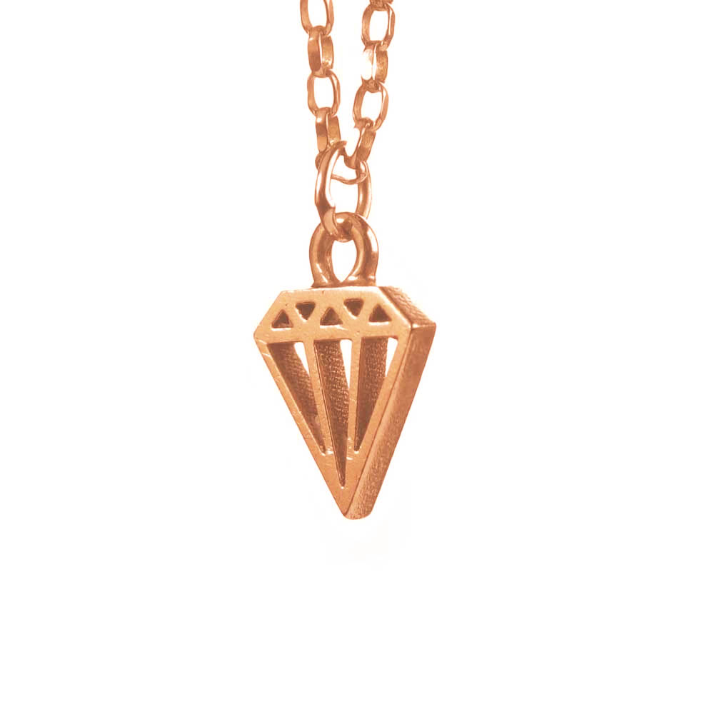 Diamond outline rose gold necklace