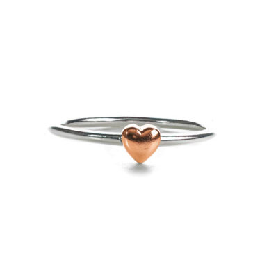 sterling silver ring with rose gold cushion heart