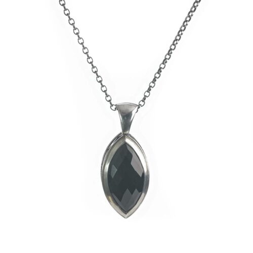 Black Rose Pendant. Marquise onyx necklace.