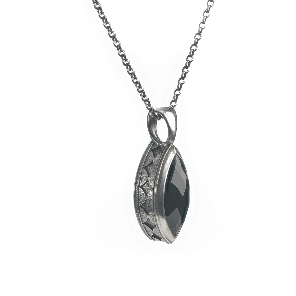 Sterling silver black onyx statement pendant necklace side