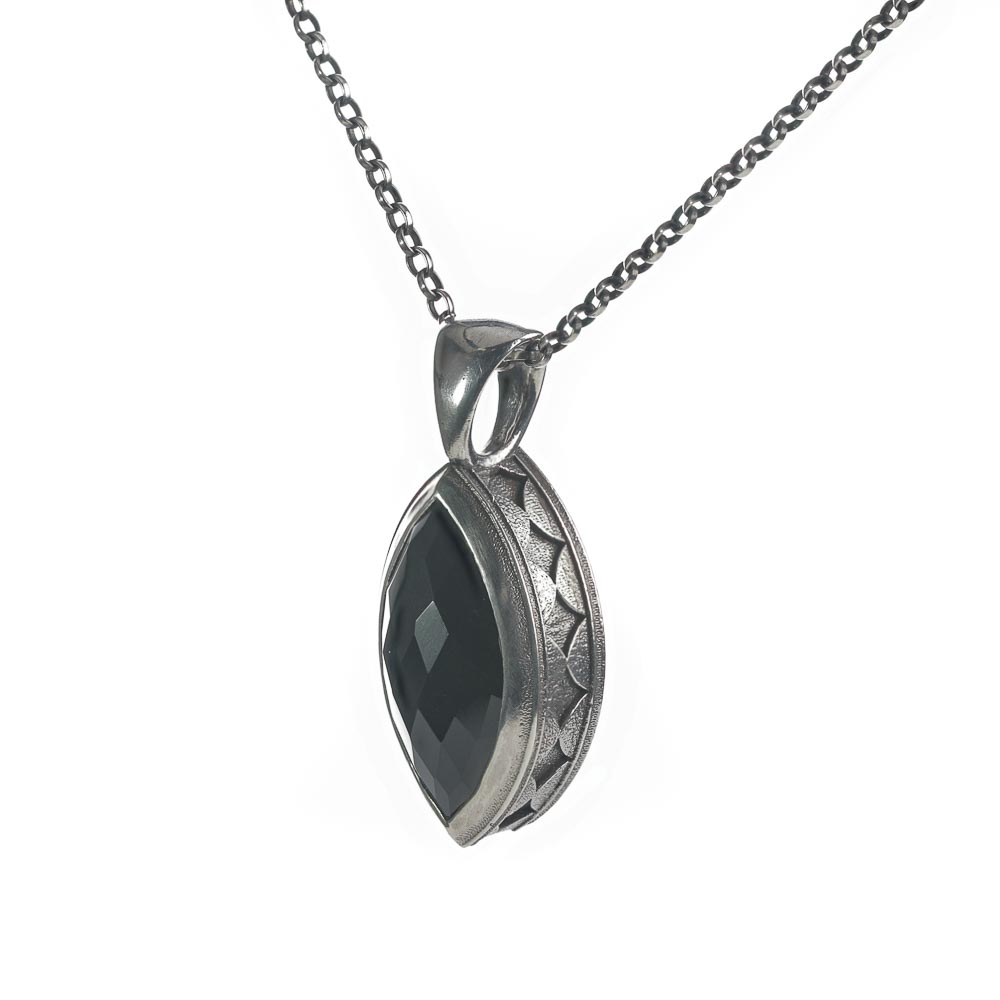 Sterling silver black onyx statement pendant necklace