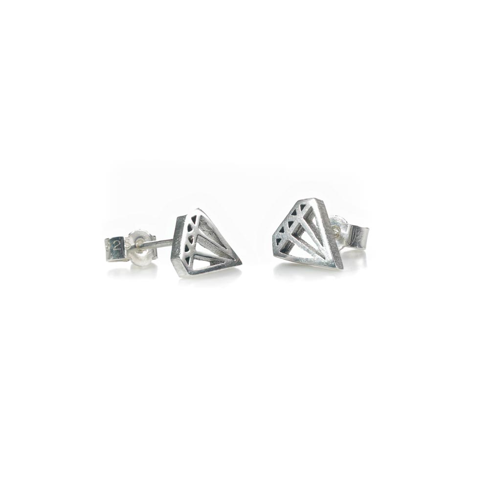 geometric diamond outline stud earrings in sterling silver