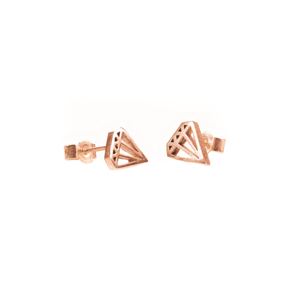 geometric diamond outline stud earrings in gold