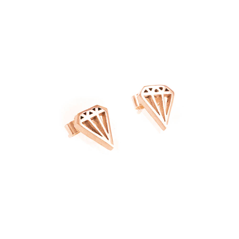 geometric diamond outline stud earrings in yellow gold