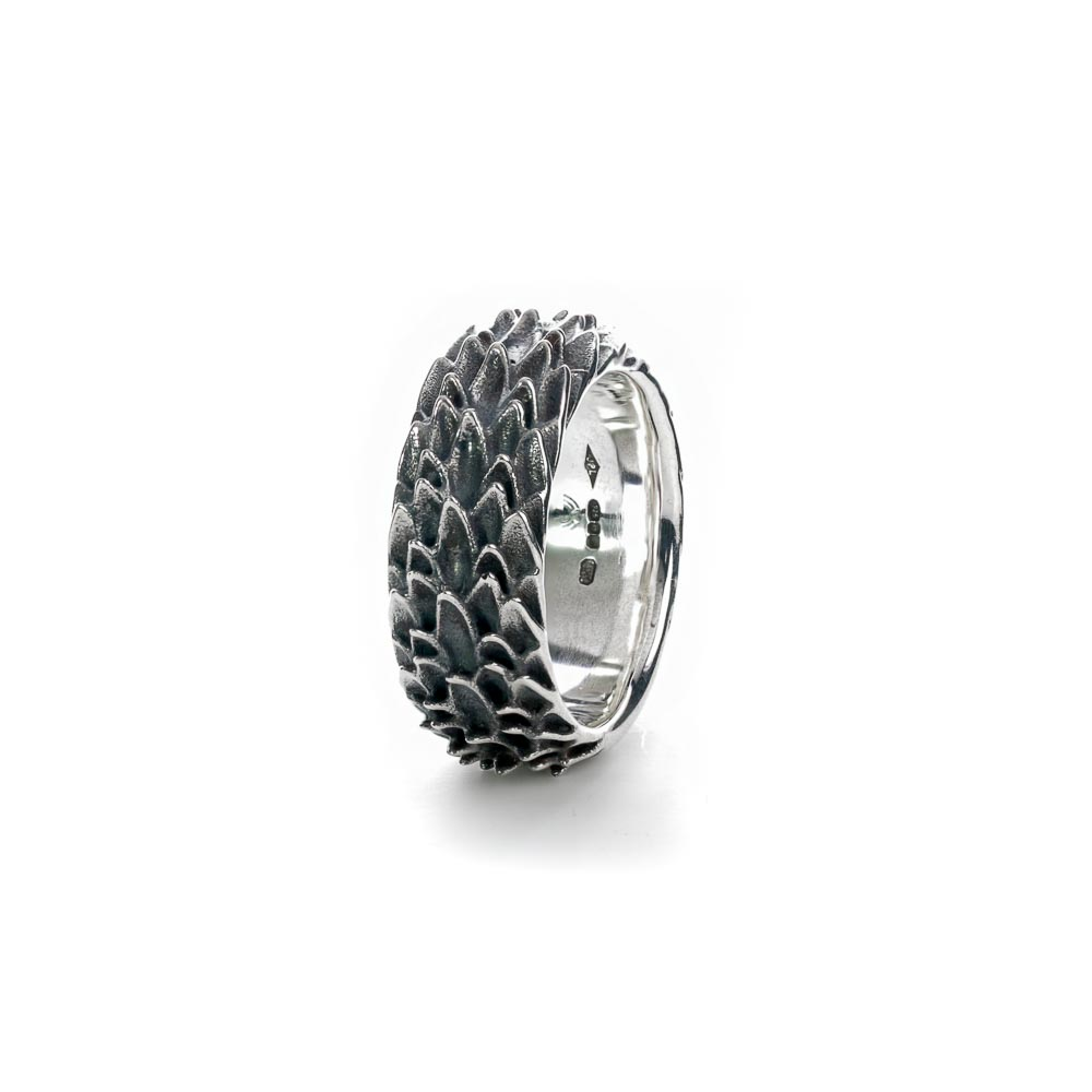 Sterling silver dragon scale ring side