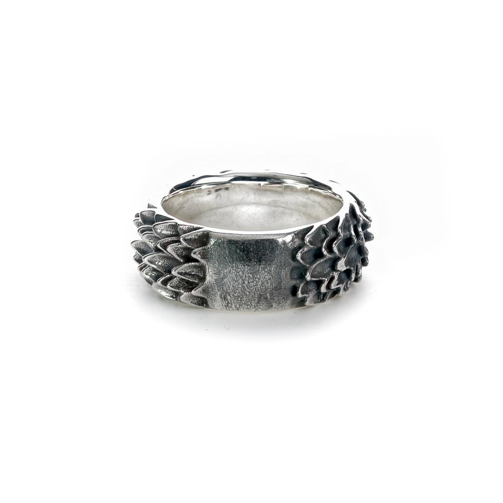 Sterling silver dragon scale ring back
