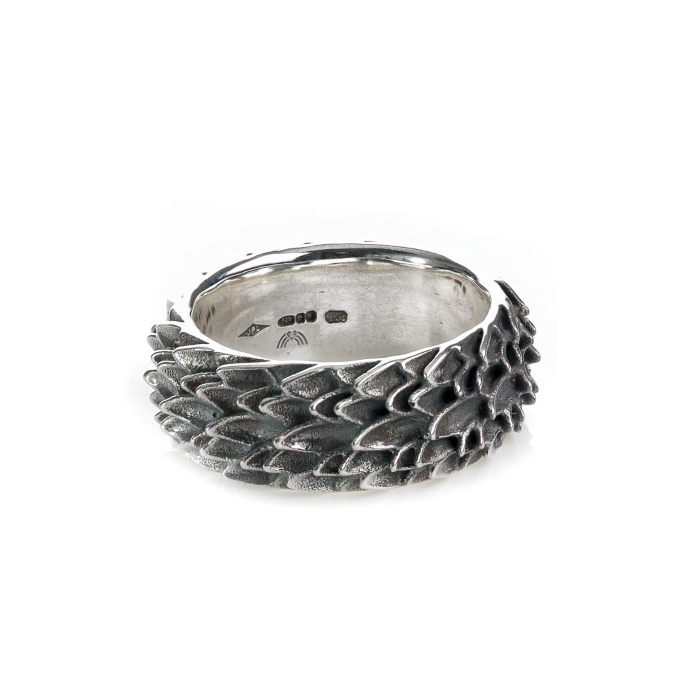 Sterling silver dragon scale ring