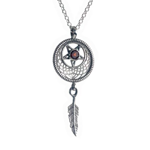 Dreamcatcher silver pendant necklace with garnet stone