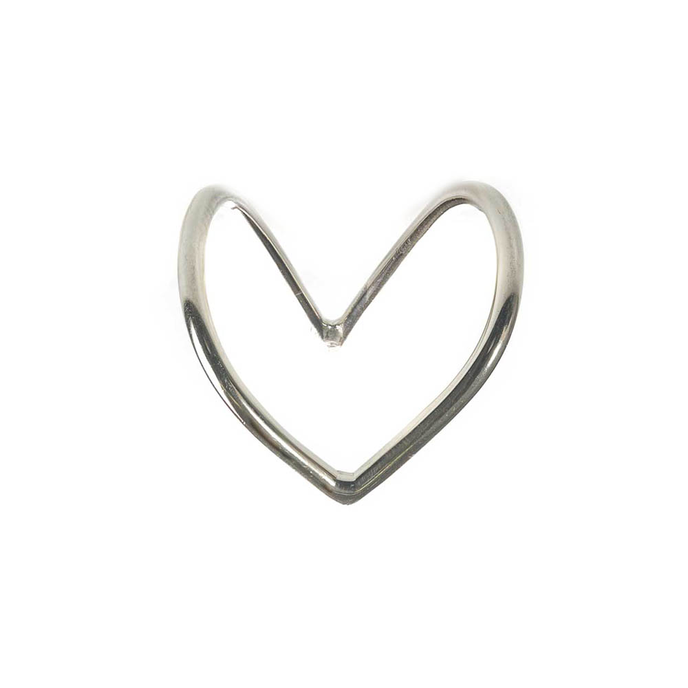 Open heart shaped sterling silver ring