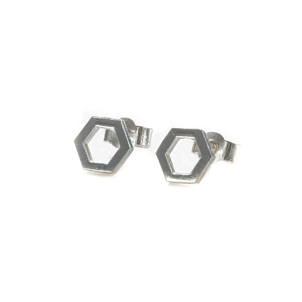 Geometric sterling silver hexagonal stud earrings