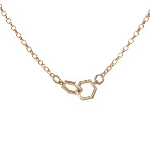 Interlinked gold hexagon necklace