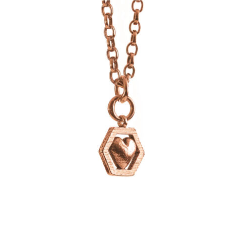 Hexagon heart necklace gold