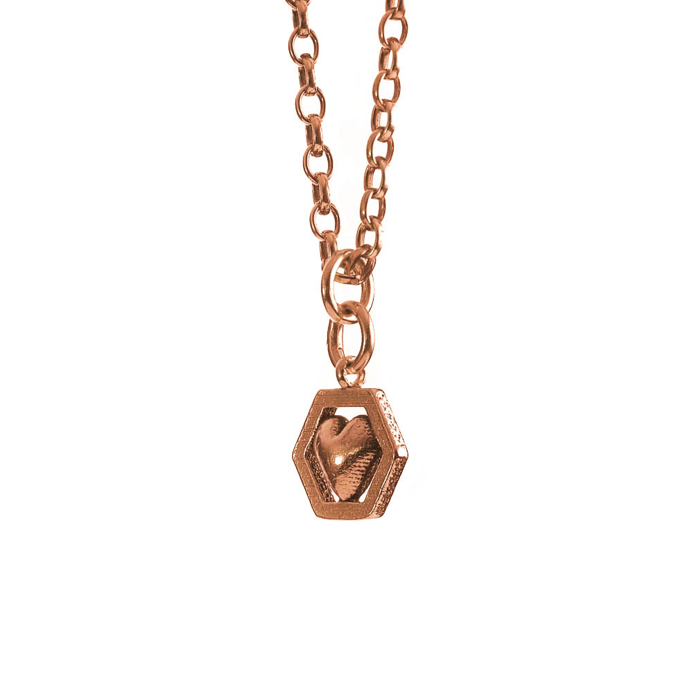 Hexagon heart necklace rose gold