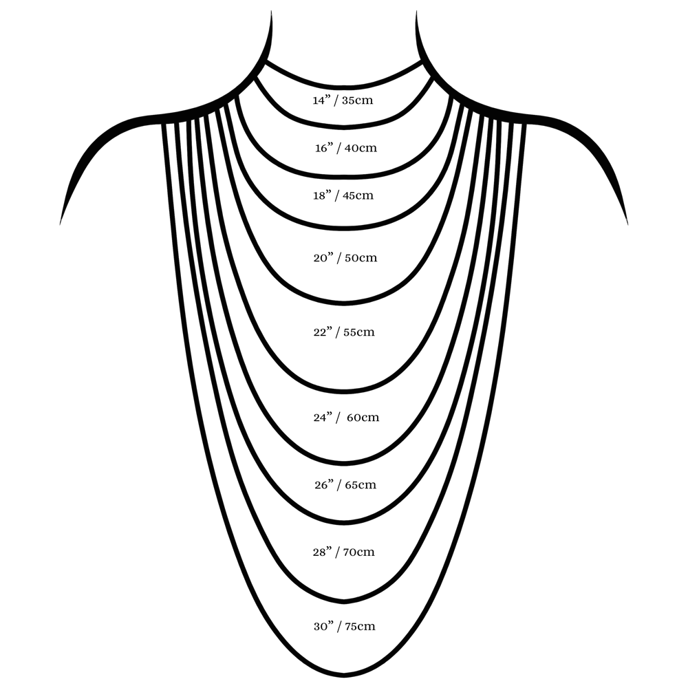 Necklace length guide chart
