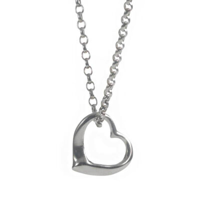 Open heart sterling silver necklace