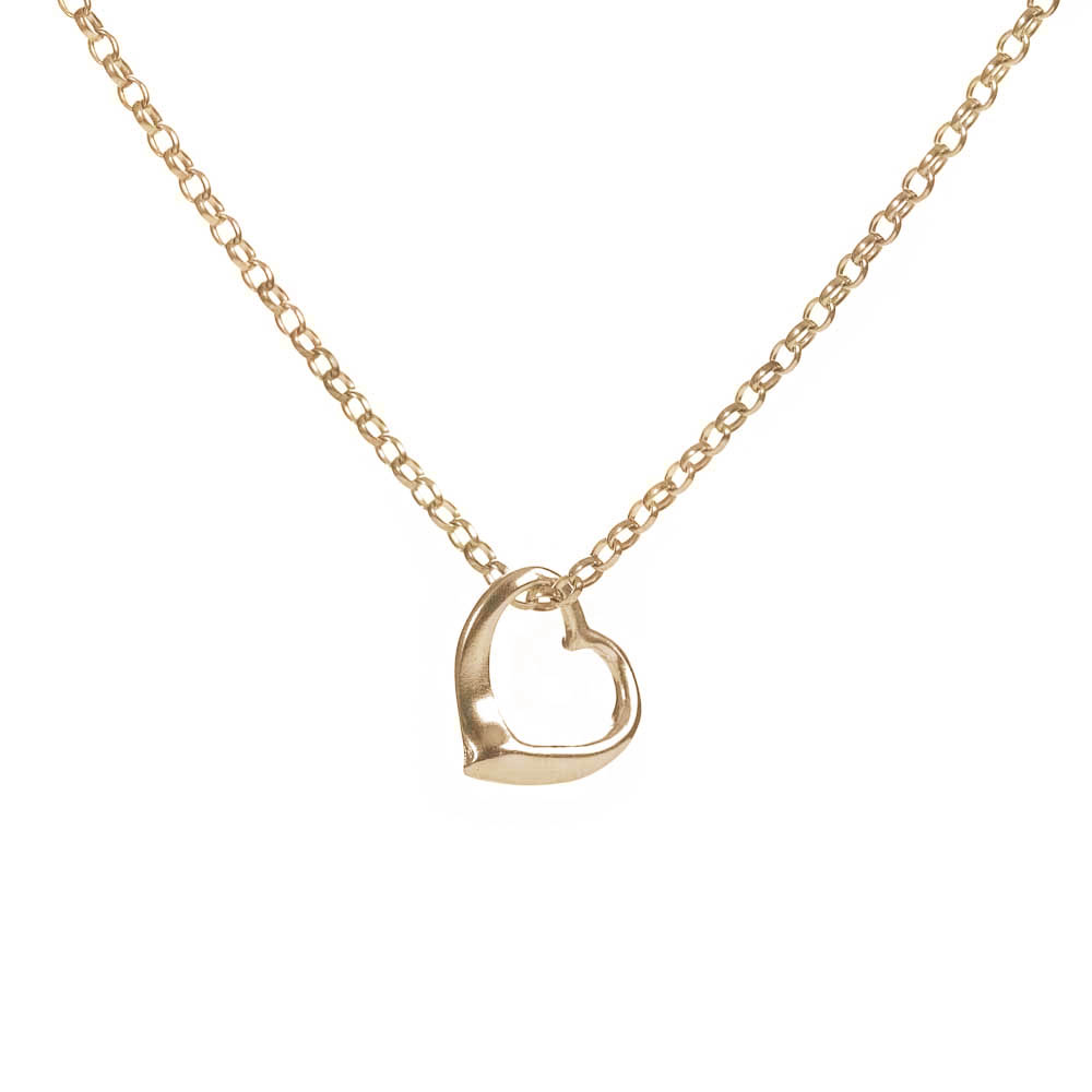 Open heart gold necklace