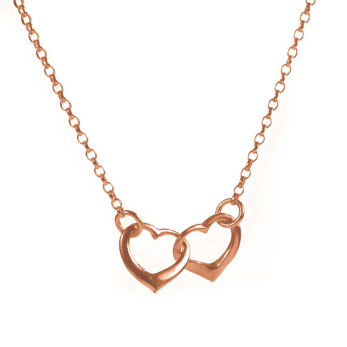 Interlinked rose gold heart necklace