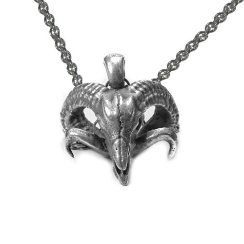 sterling silver ram skull pendant necklace