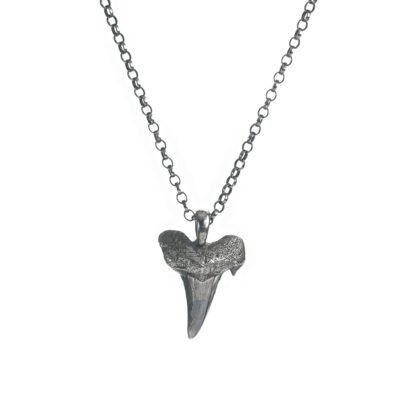 Sharks tooth long pendant sterling silver