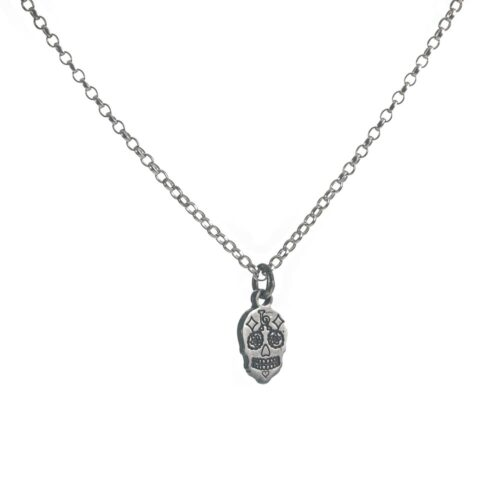 Sterling silver Calavera sugar skull charm necklace