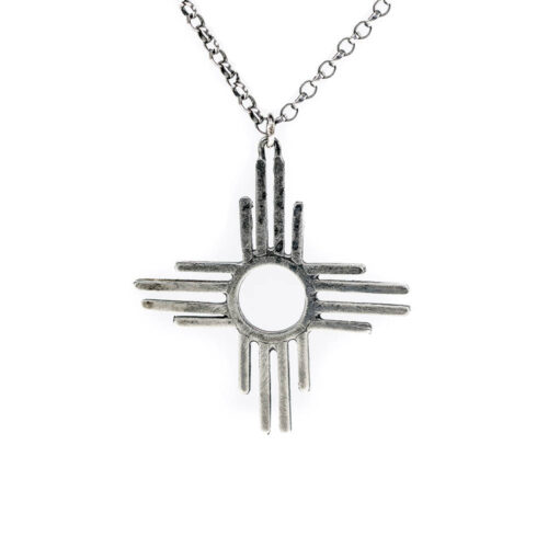 graphic geometric solar sun pendant necklace