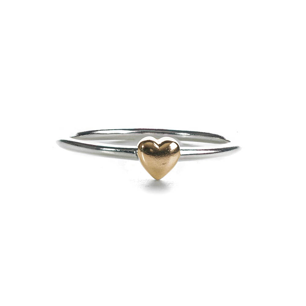 sterling silver ring with gold cushion heart